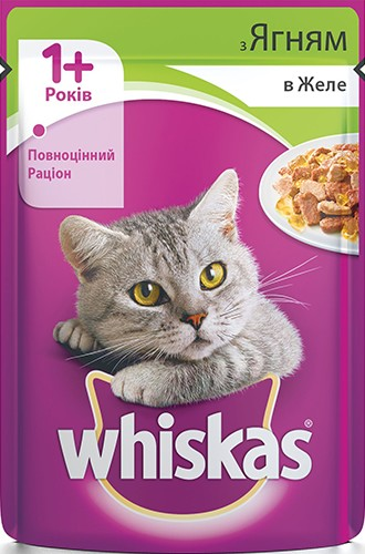 Консерва для кошек с ягненком в желе Whiskas
