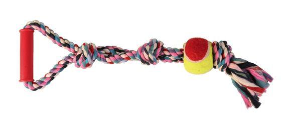 Trixie - 3280 Игрушка для собак канат с узлами, мячем и ручкой