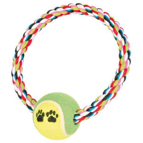 Trixie - 3266 Игрушка для собак теннисный мяч на веревке-ринге