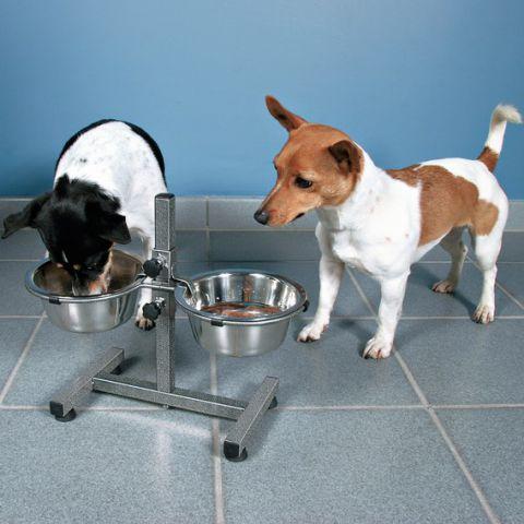 Миски на штативе хромированные (2х0.75л) для очень маленьких пород собак.