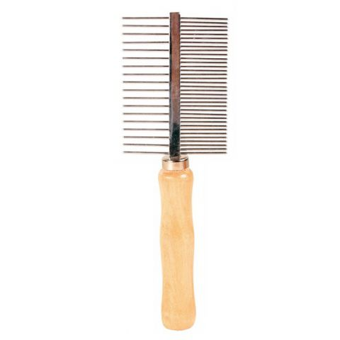 Trixie Расческа металлическая с деревянной ручкой двусторонняя