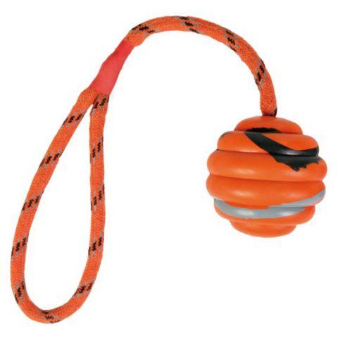 Trixie - 33724 Игрушка для собак Мяч волнистый на веревке 30см