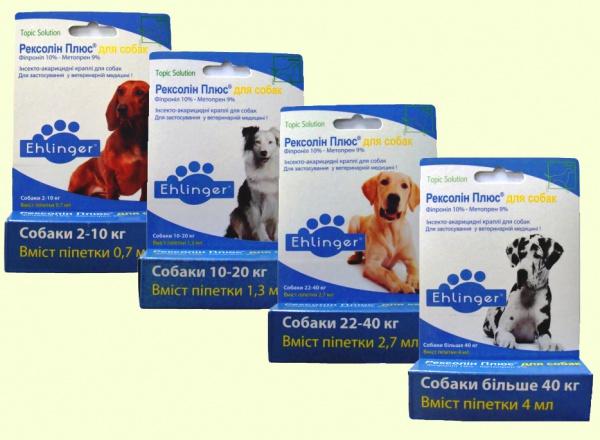 Rexolin Plus капли от блох и клещей для собак (Рексолин Плюс)