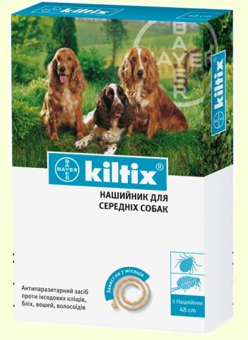 Bayer Kiltix (Килтикс) ошейник от клещей и блох для средних собак - 48см