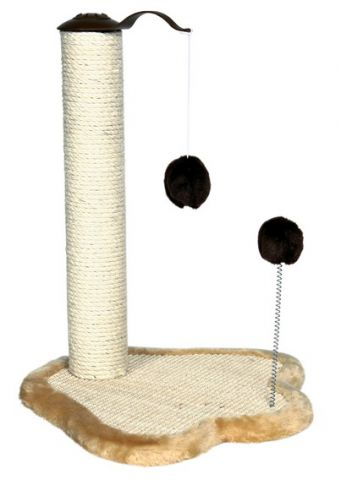 Trixie - 4295 Когтеточка для кошки Trixie Лапка, столбик с двумя игрушками