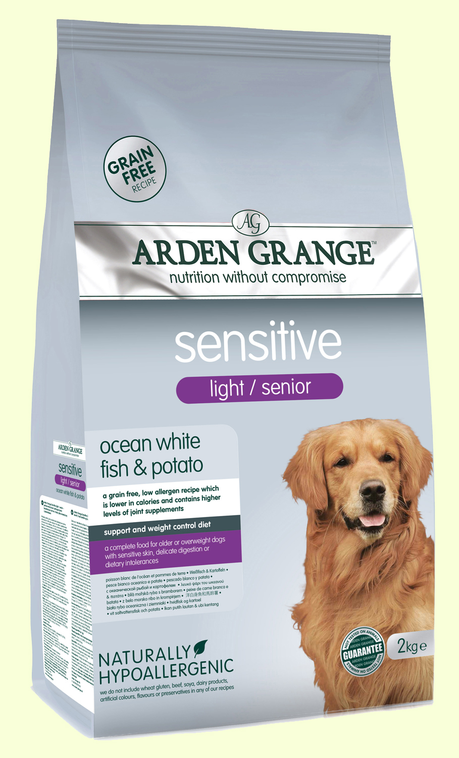 Arden Grange Sensitive Light/Senior Корм для пожилых тучных собак с аллергией
