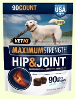 Глюкозамин с МСМ для собак VetIQ Maximum Strength Hip & Joint Soft Chews